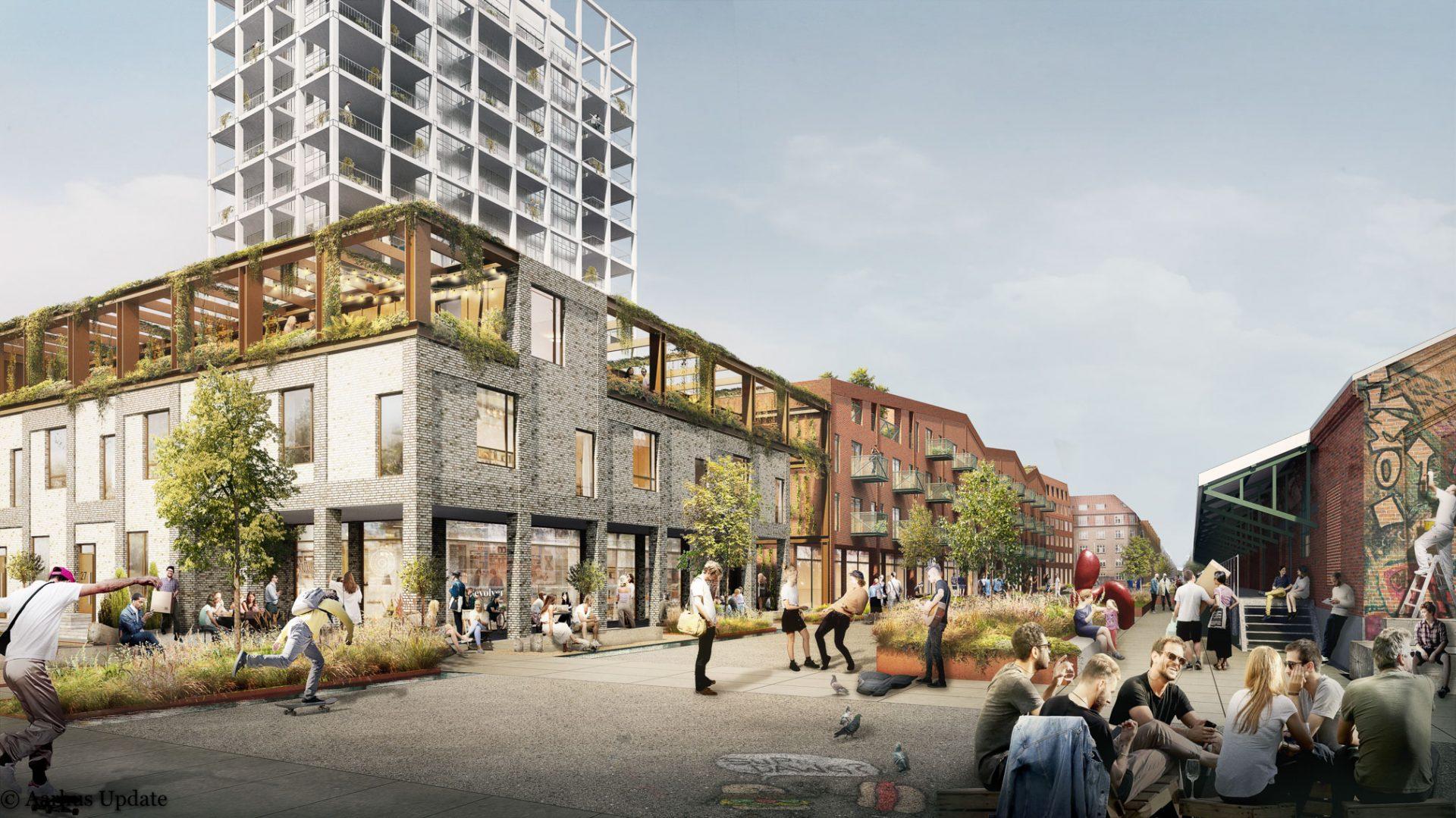 Godsbanen tager næste skridt: Byhuse, grønne tage og åbne stueetager med erhverv er på vej