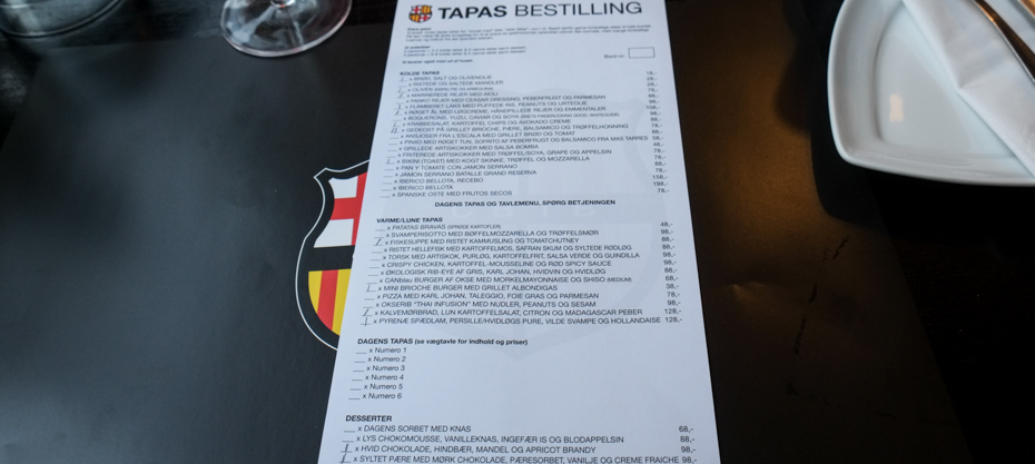 Bestillingseddel på CANblau i Aarhus