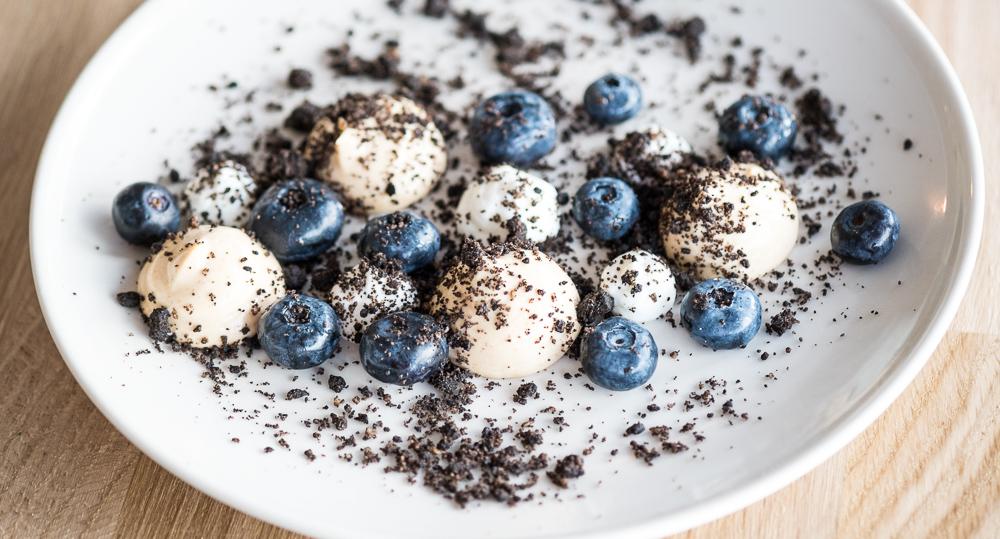 Dansk blåbærdessert på Restaurant Pondus