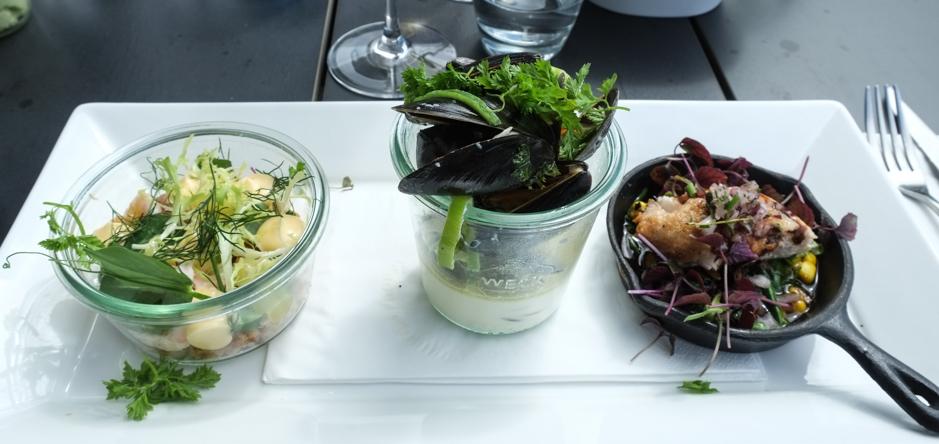 De tre første serveringer på Restaurant Unico_