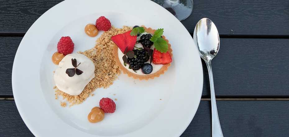 Dessert på Restaurant Terrassen i Friheden