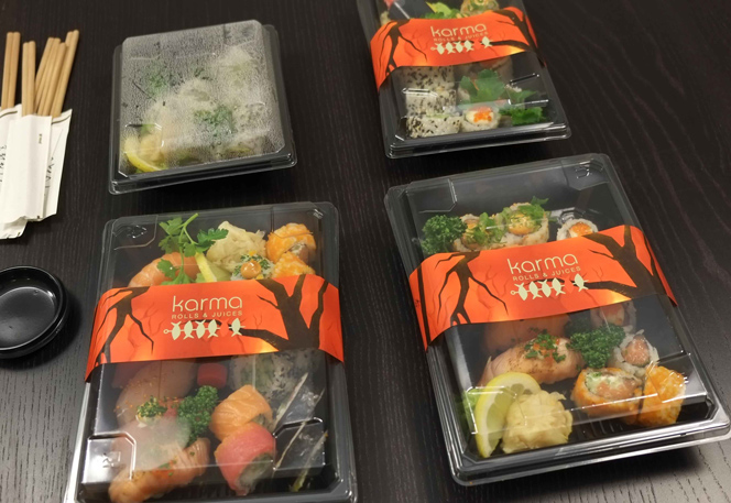 Emballage og indpakning fra Karma Sushi
