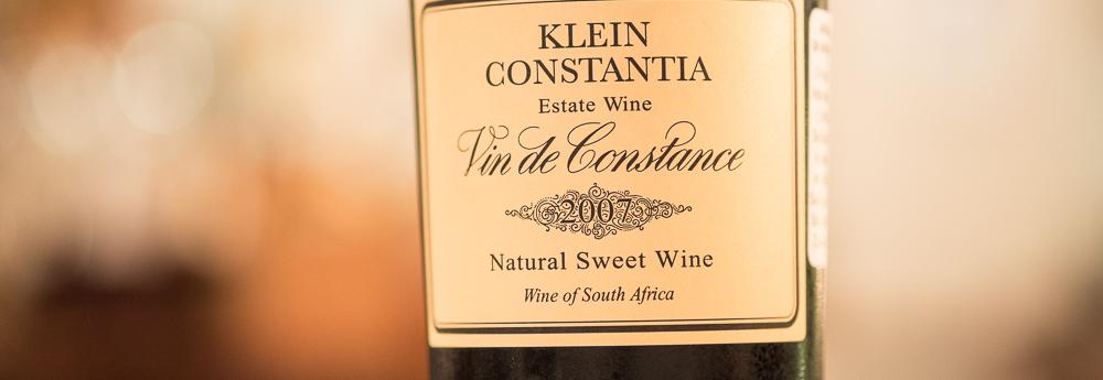 En sydafrikansk, Klein Constantia, Vin de Constance, årgang 2007 på Malling Kro