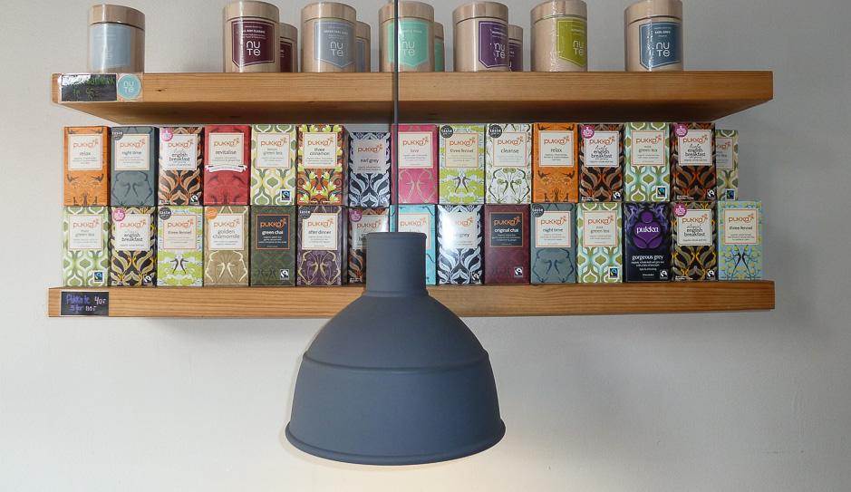 Et pæn stort te-udvalg hos Café GLAD! i Aarhus