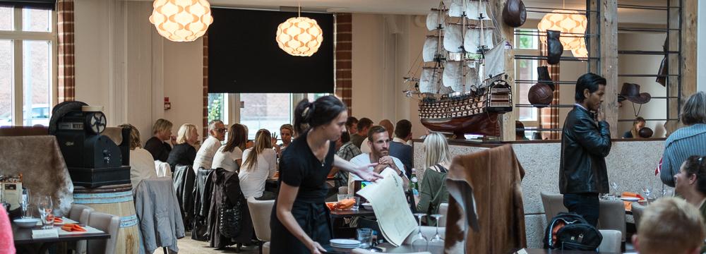 Et udsnit at indretningen på Restaurant Flammen i Aarhus