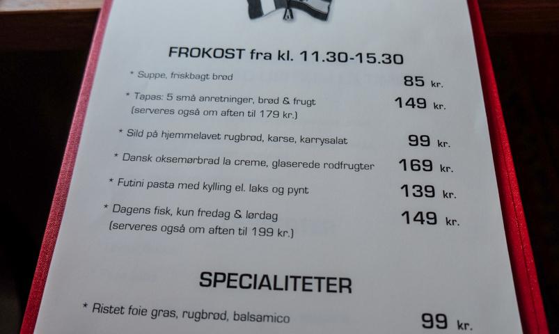 Frokostkortet på Le Coeur de L'île_