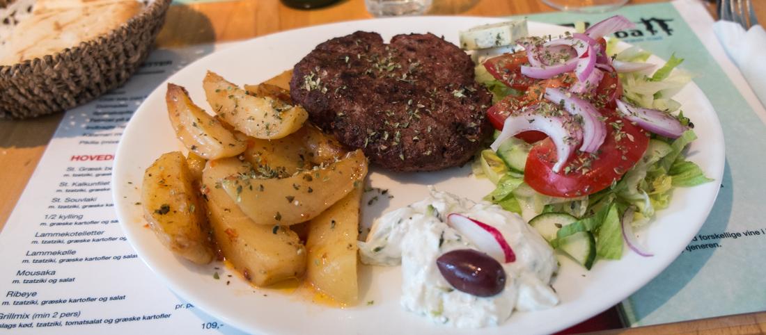 Græsk bøf på Restaurant Zorba i Frederiks Allé