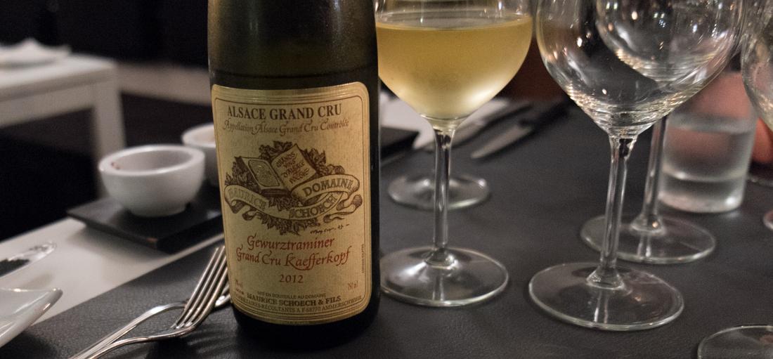 "Grand ""Cru kaefferkopf"" fra Maurice Schoech i Alsace på Restaurant Lajmi i Jægergårdsgade"