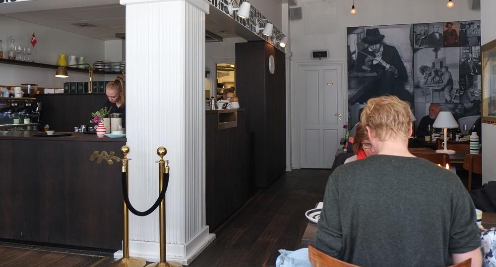 Indretning på Kählers Spisesalon set fra Bruunsgade i Århus