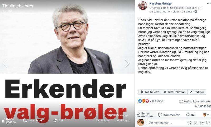 Fra Karsten Hønges facebookprofil