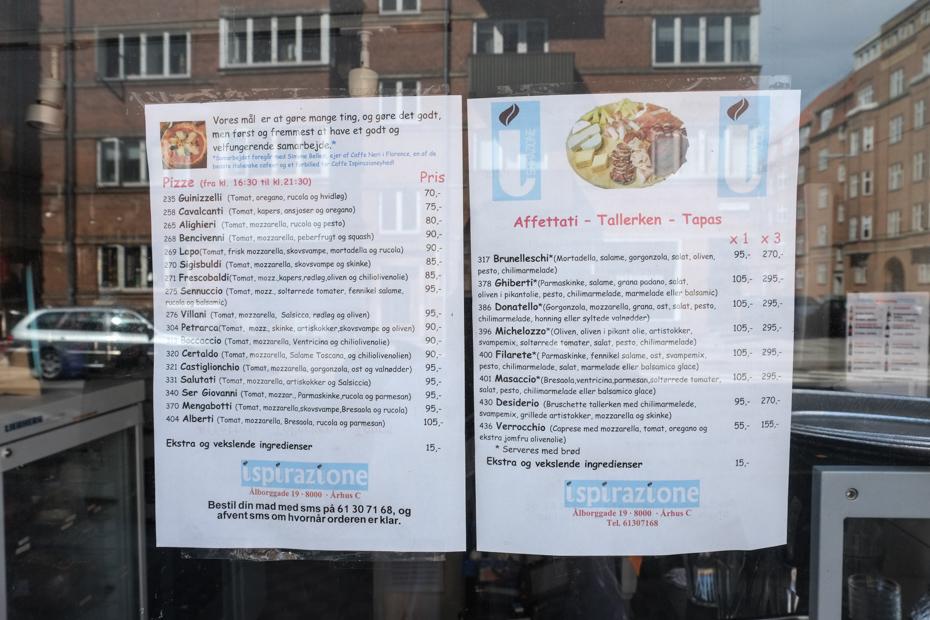 Lidt af menukortet hos Ispirazione i Ålborggade