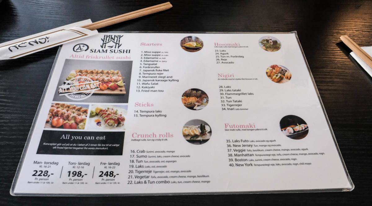 Menukort hos A+ Siam Sushi i Skolegade - Aarhus Update