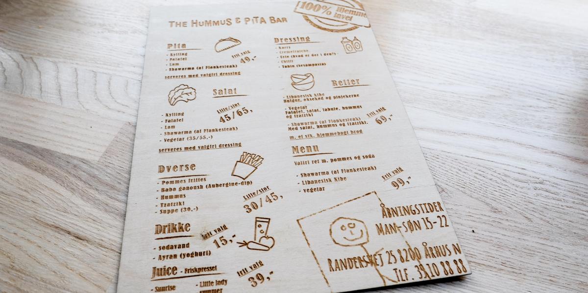 Menukort på The Hummus & Pita Bar