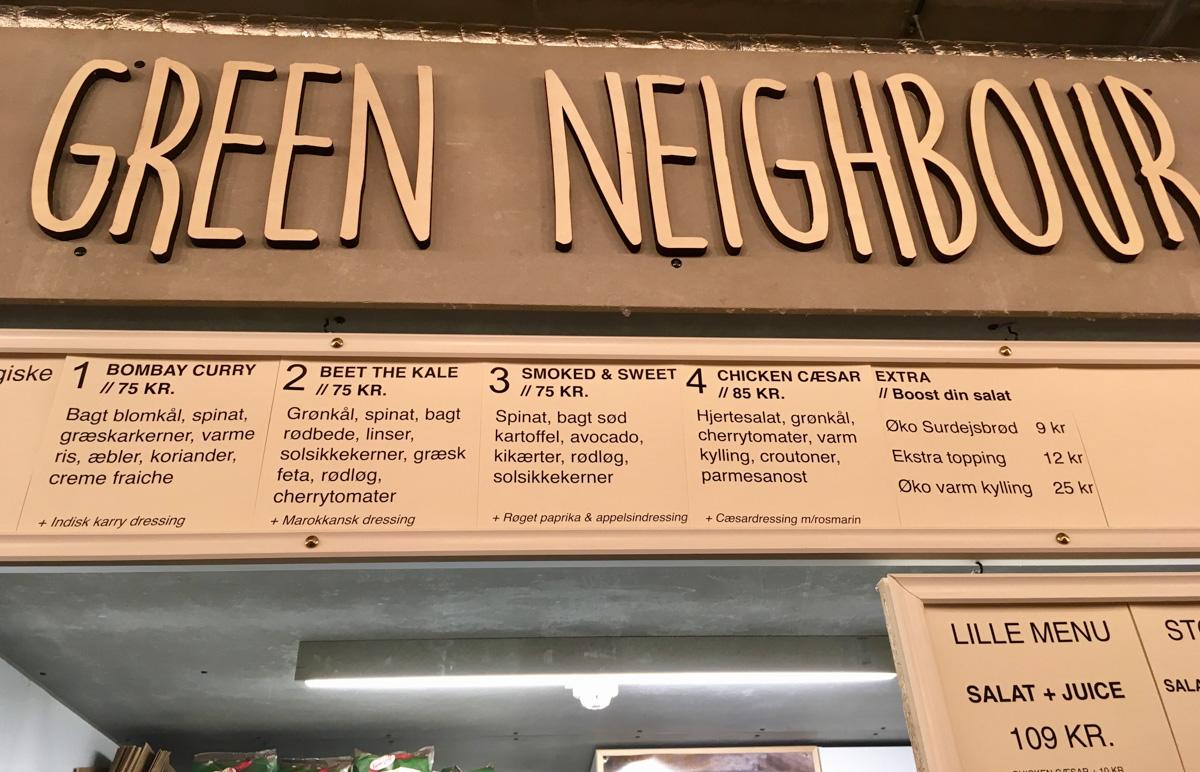 Menukort hos Green Neighbour - Aarhus Update