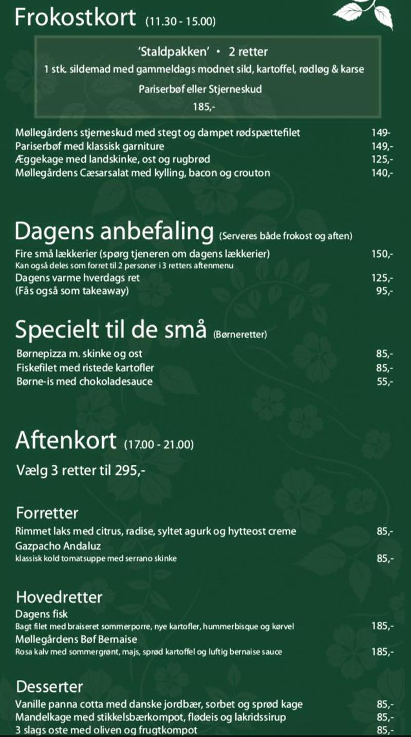 Møllegården - nyt menukort
