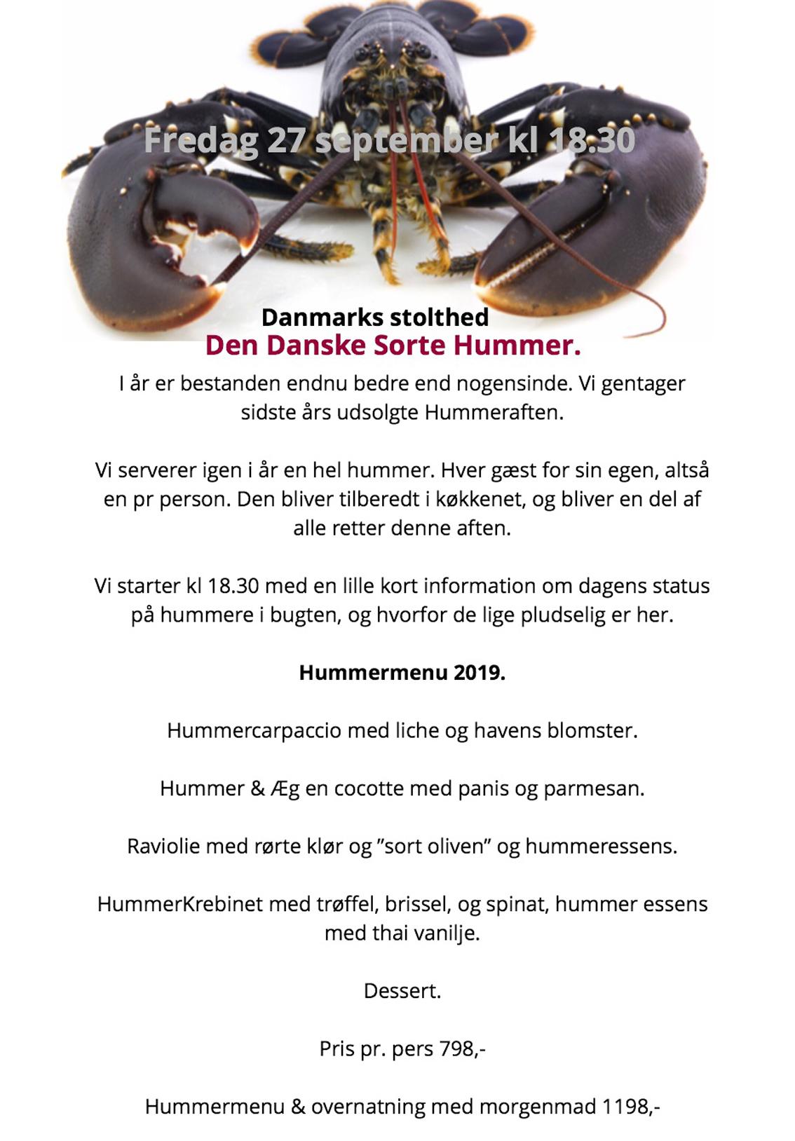 Hyldest til den danske sorthummer: Norsminde Kro laver den store hummermiddag