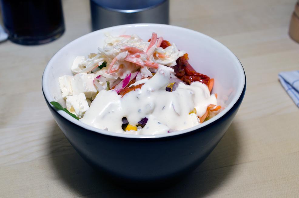 Salat og godt med dressing på Bone's i Aarhus