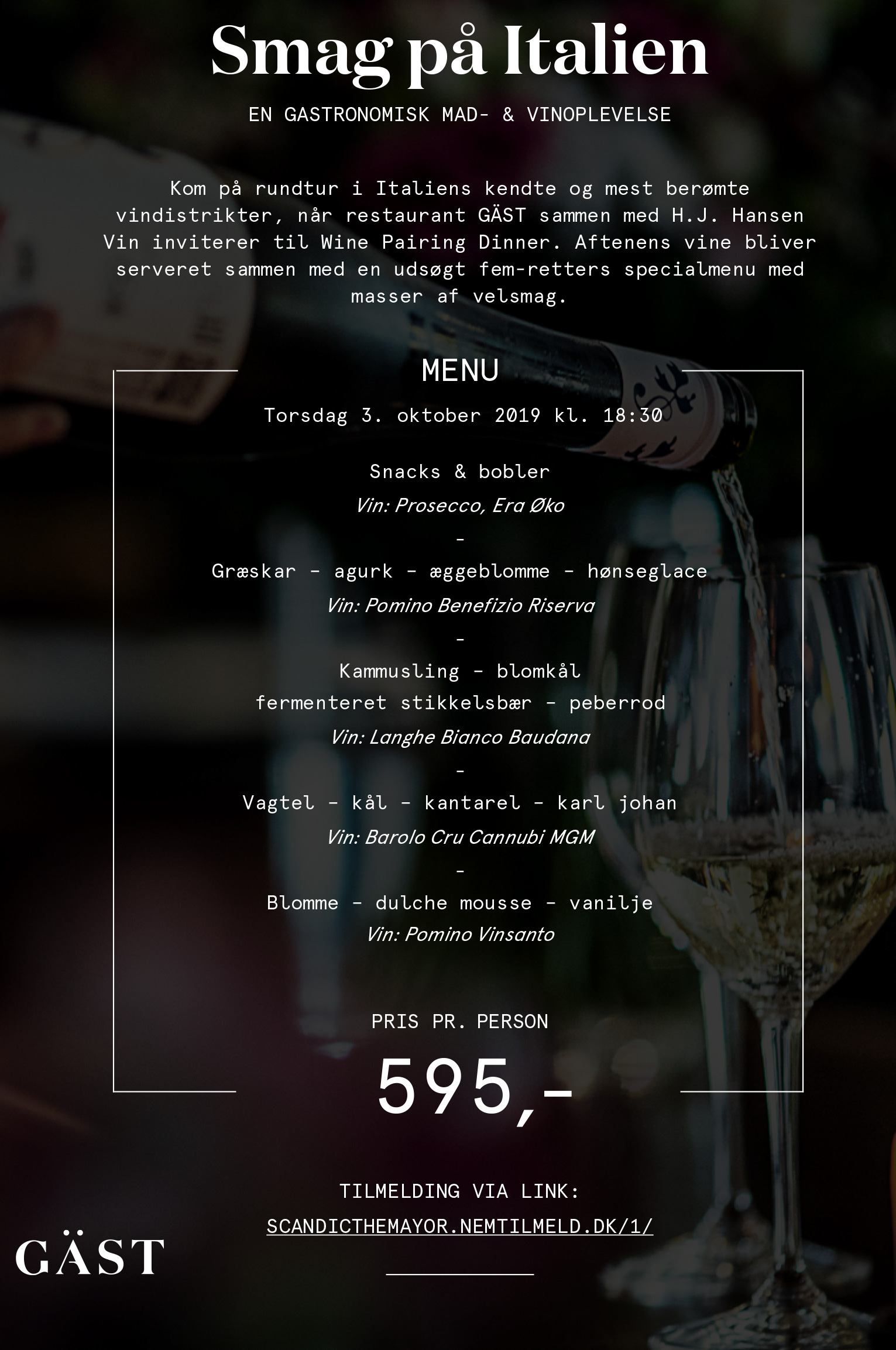 Smag på Italien: Wine Pairing Dinner på Restaurant Gäst