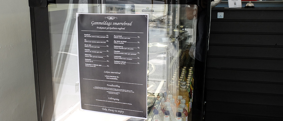 Smørrebrødsseddel hos Café 8 i Aarhus