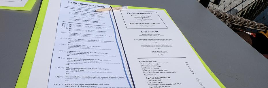Smørrebrødsseddel på Restaurant Remouladen i Vejle