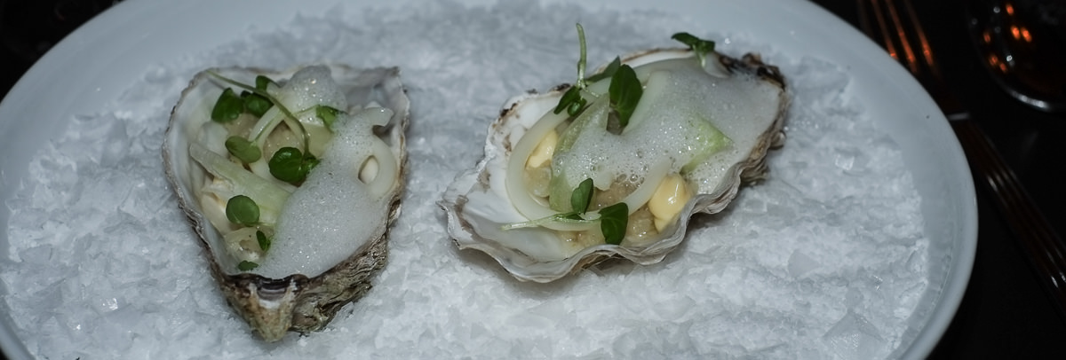 Tatar af torsk og østers serveret med sprøde salatstokke og en letrøget kalvemarv på Nordisk Spisehus