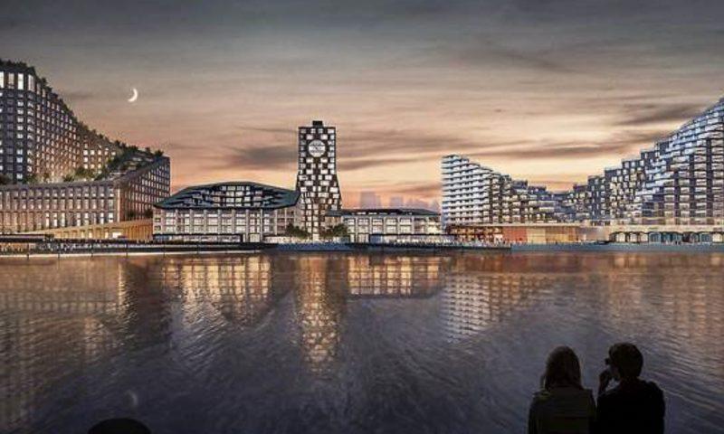 Til venstre ses hotel- og konferencecenteret. Illustration- Bjarke Ingels Group, BIG