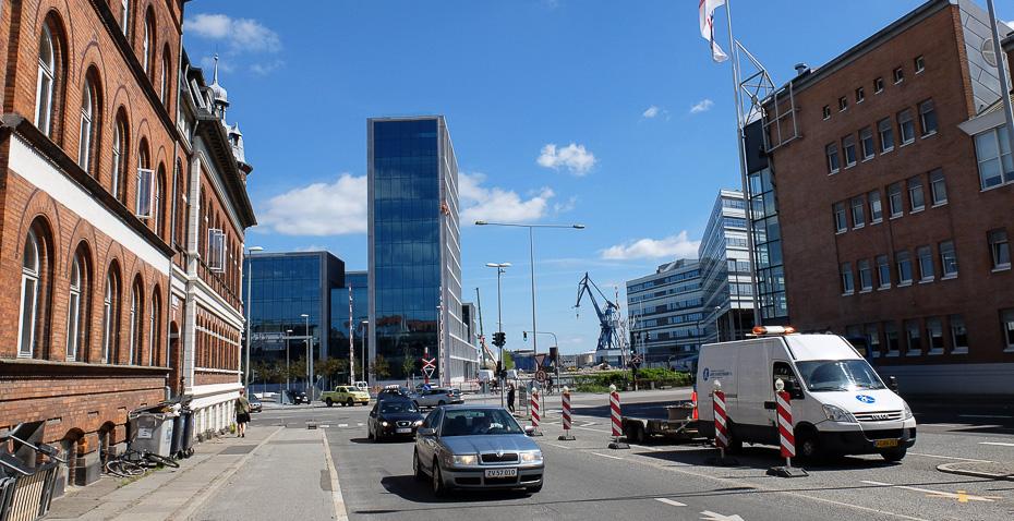 Udsigten mod havnen fra Café 8 i Aarhus