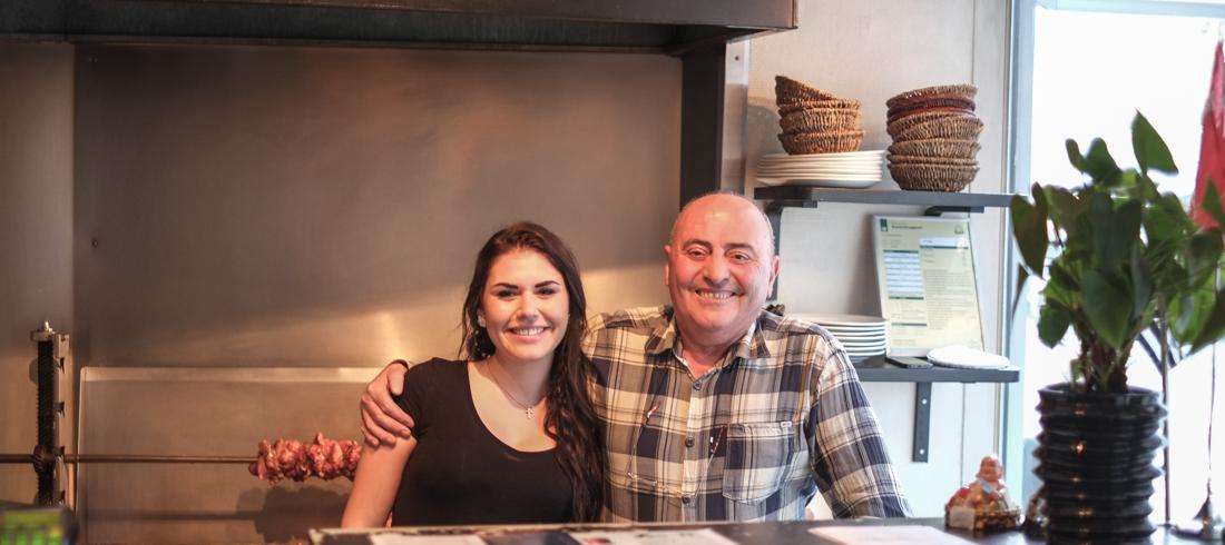 Xenia Kjær Karassavidis og hendes far, Thomas, fra Restaurant Zorba i Aarhus