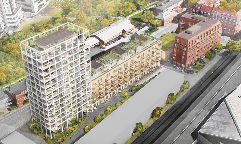 Hele komplekset i Carl Blochs Gade kommer til at se således ud, når de første beboere kan flytte ind i begyndelsen af 2020. Visualisering: Sleth A/S