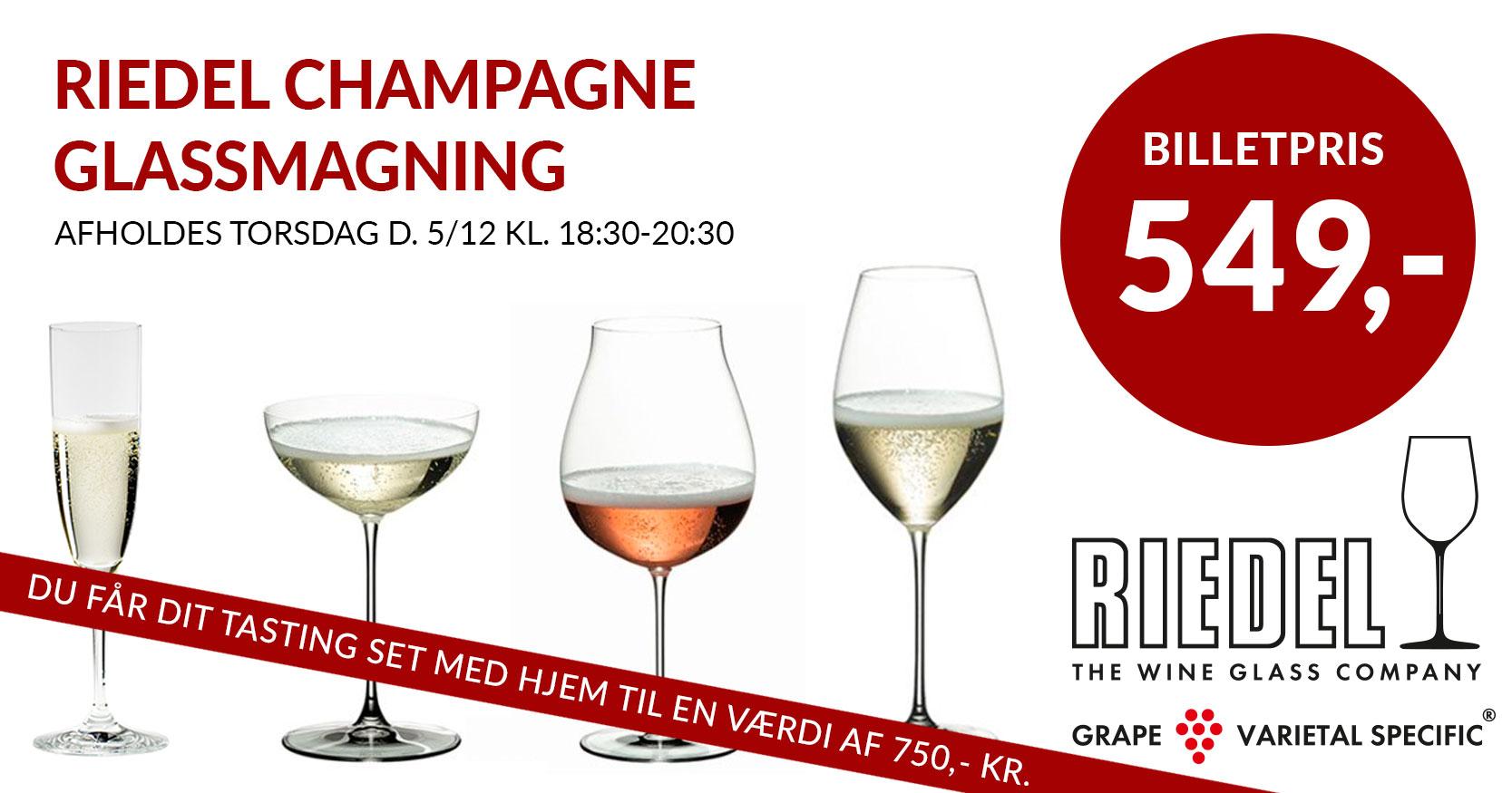 Din Vinbar i Jægergårdsgade: Champagnesmagning i Riedel Champagneglas