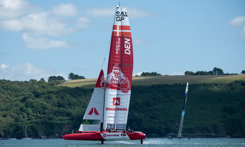 Denmark SailGP Team presented by ROCKWOOL in action during a practice session ahead of Great Britain SailGP, Event 3, Season 2 in Plymouth, Great Britain. 15 July 2021. Photo: Jon Buckle for SailGP. Handout image supplied by SailGP